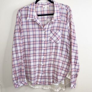 Hem & Thread plaid Buttondown lace back inset NWT